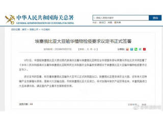 <b>中国海关:埃塞俄比亚大豆可以正式向我国出口</b>