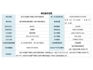 陆丰丰田畜产有限公司荣丰畜牧场环境信息公开表