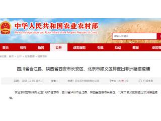 北京顺义区种猪场发生非洲猪瘟!四川、陕西再次发生疫情