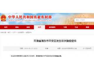 青海省海东市平安区发生非洲猪瘟疫情,存栏生猪32头,发病32头,死亡17头