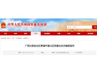 广西贵港市一养猪场排查出非洲猪瘟疫情