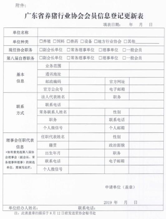 粤猪协关于开展会员信息登记更新工作的通知