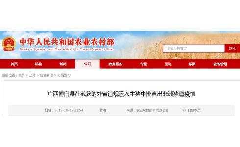 <b>广西博白县在截获外省运入生猪中排查出非洲猪瘟疫情</b>