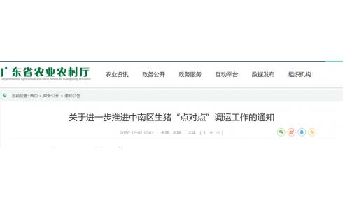 """<b>广东省农业农村厅:进一步推进中南区生猪""""点对点""""调运工作</b>"""